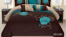 Brown Turquoise Western Style Pcs Embroidery Comforter