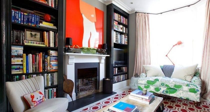 Built Bookcases Living Room Transitional Brick