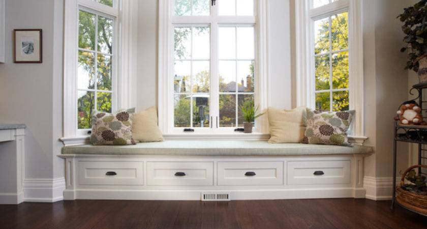 Built Window Bench Traditional Living Room