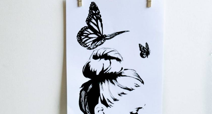 Butterfly Black White Wall Art Feminine