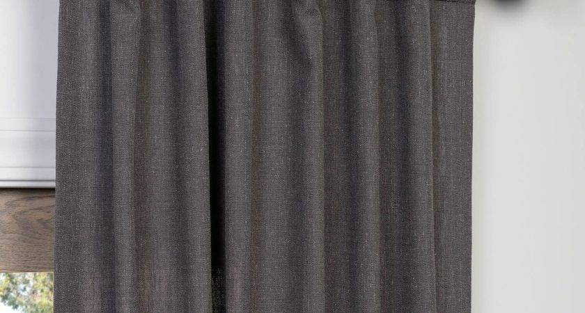 Buy Slate Grey Heavy Faux Linen Curtains Panel