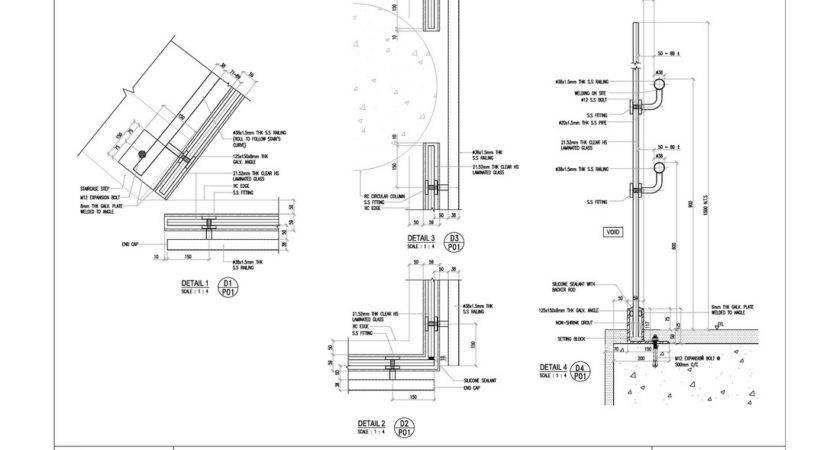 Canadian School Staircase Glass Railing Cad
