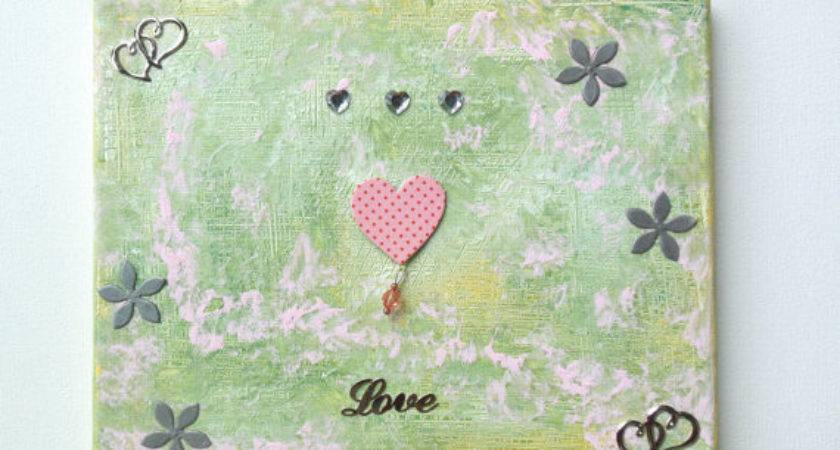 Canvas Art Green Painting Original Pink