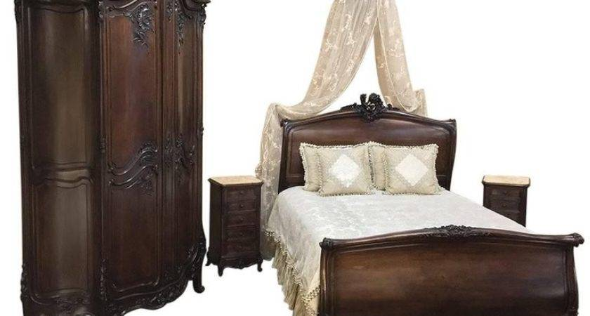Century French Louis Walnut Five Piece Bedroom