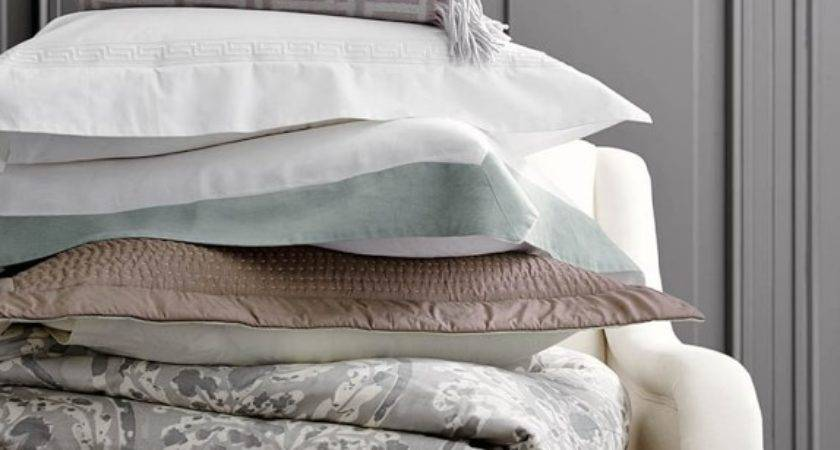 Chambers Flax Washed Linen Border Bedding Williams Sonoma