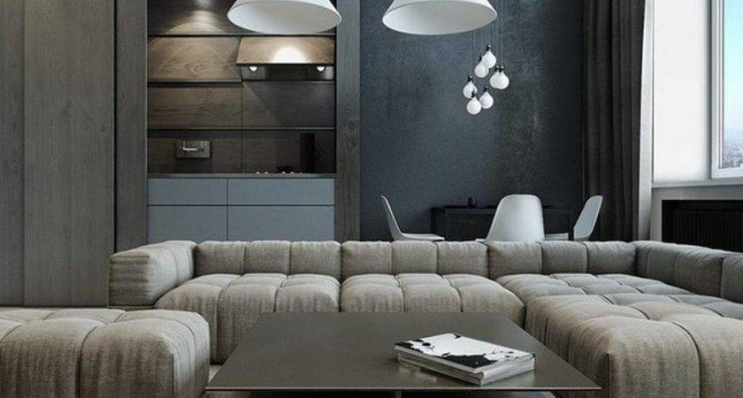 Charcoal Grey Wall Color White Pendant Lamps