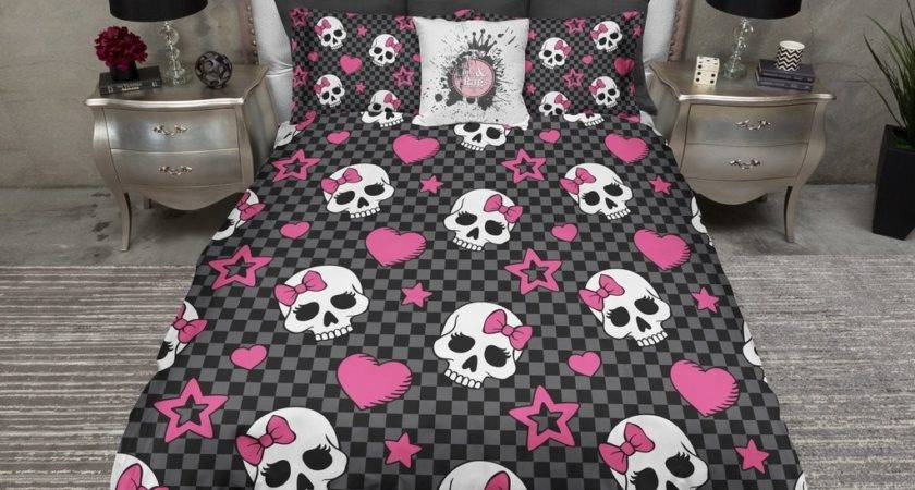 Checker Board Candy Skulls Hot Pink Bows Bedding