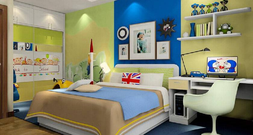 Children Bedroom Bed Back Wall Colors
