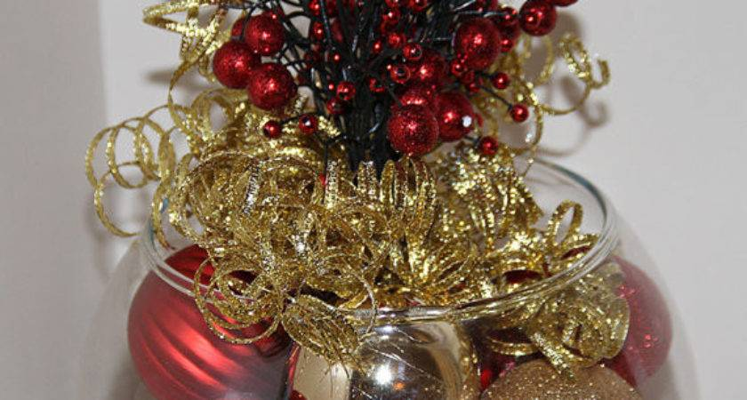 Christmas Centerpiece Red Gold Holiday Decor