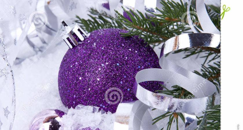 Christmas Decoration Purple Silver Snow