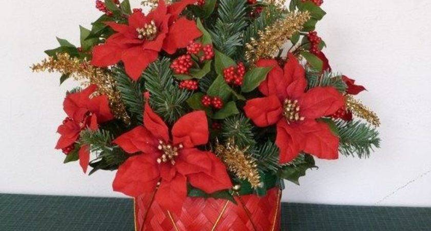Christmas Holiday Basket Centerpiece Poinsettias Berries Gold