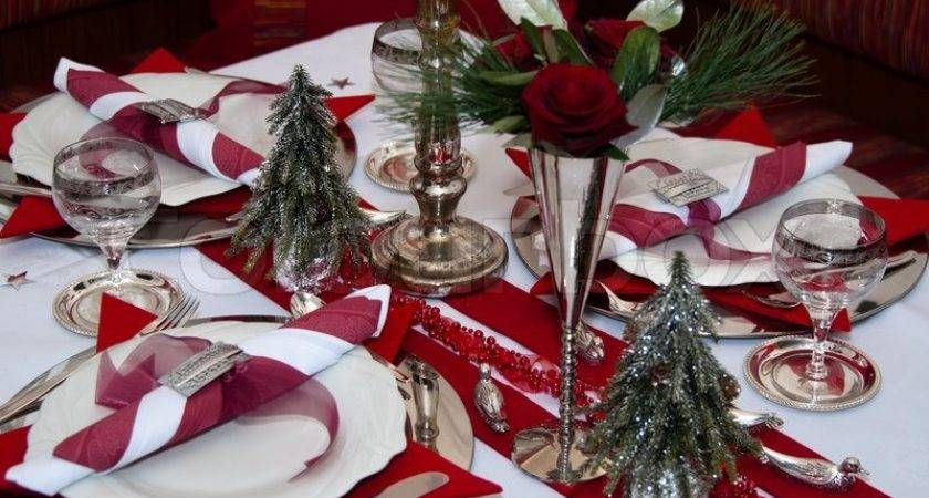 Christmas Table Red Decoration Napkins Roses