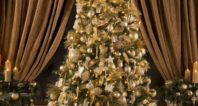 Christmas Tree Decorations Gold Silver Happy Holidays