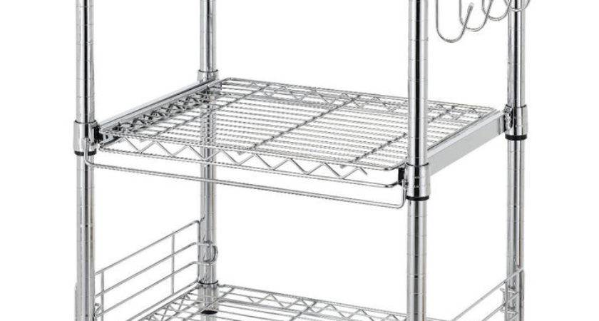 Chrome Tier Wire Rolling Kitchen Cart Utility Food