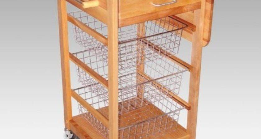 Chrome Wire Basket Kitchen Cart Traditional