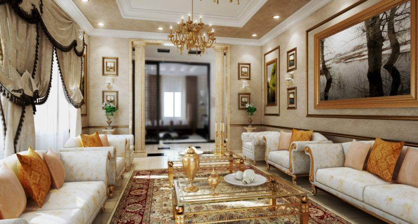 Classic Contemporary Interior Design White Sofa Gold