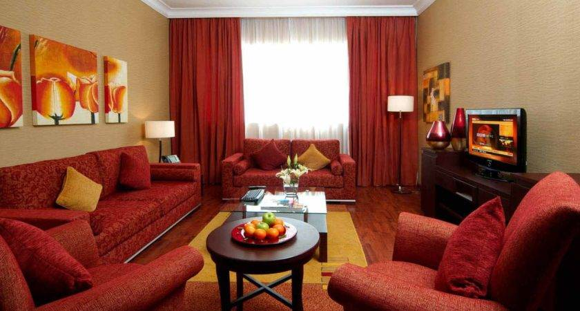Classy Brown Red Color Living Room Floral