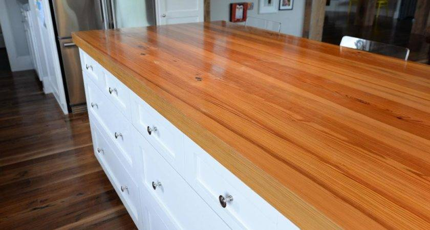 Clear Unfinished Reclaimed Heart Pine Tops Sanded