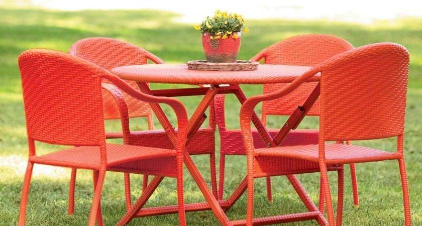 Colored Wicker Table Set Outdoor Furniture Plow Hearth