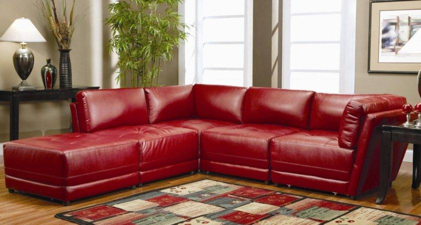 Colorful Carpet Brown Sidetable Close Red Sofa Set