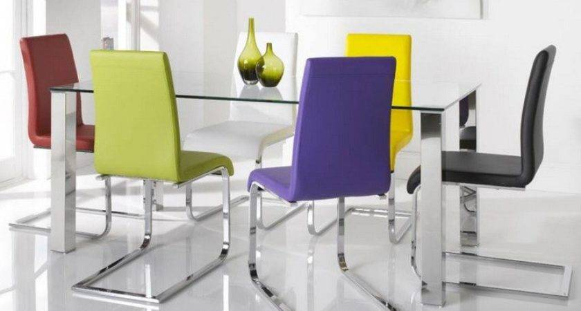 Colorful Dining Chairs Glass Stainless Steel