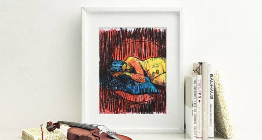 Colorful Nude Drawing Feminine Bedroom Wall Art Print