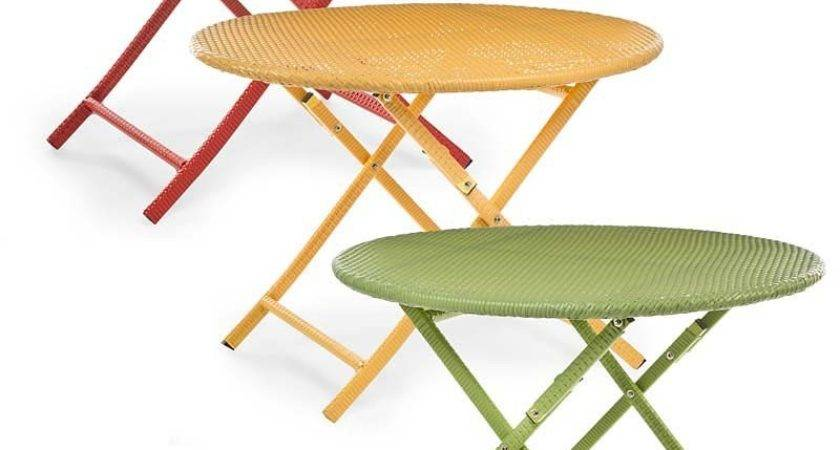 Colorful Wicker Folding Bistro Table Collection Accessories
