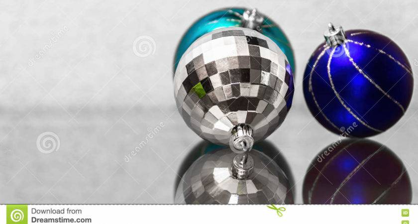 Composition Blue Silver Christmas Balls
