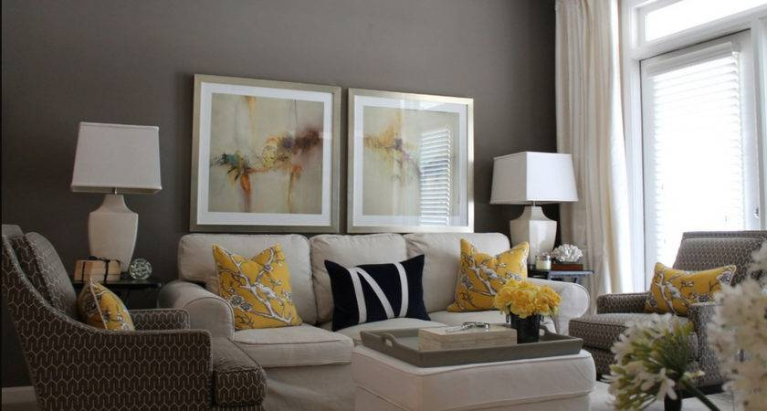 Contemporary Decor Living Room Gray Yellow Just