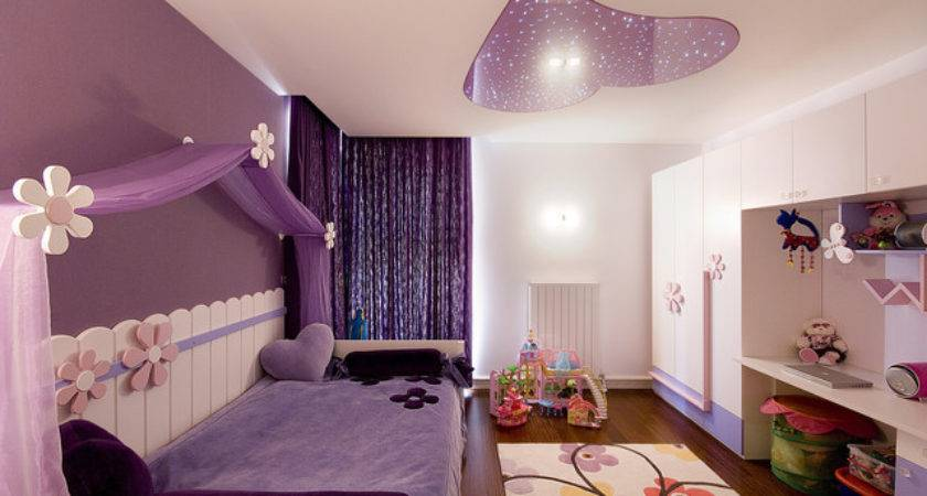 Contemporary Kids Purple Bedroom Ideas White Bed