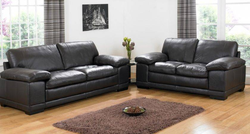 Contemporary Living Room Black Leather Sofa Dobson