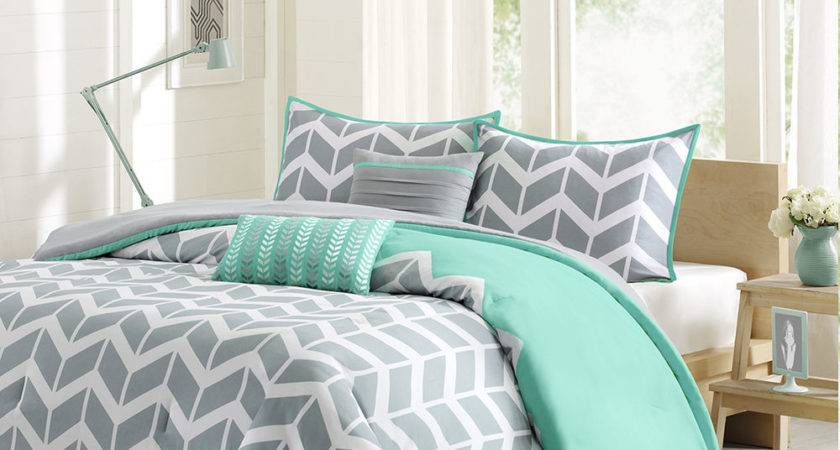 Cool Gray Teal Chevron Stripe Bedding King Bed