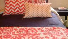 Coral Navy Dorm Room Bedding Girls Decor Door