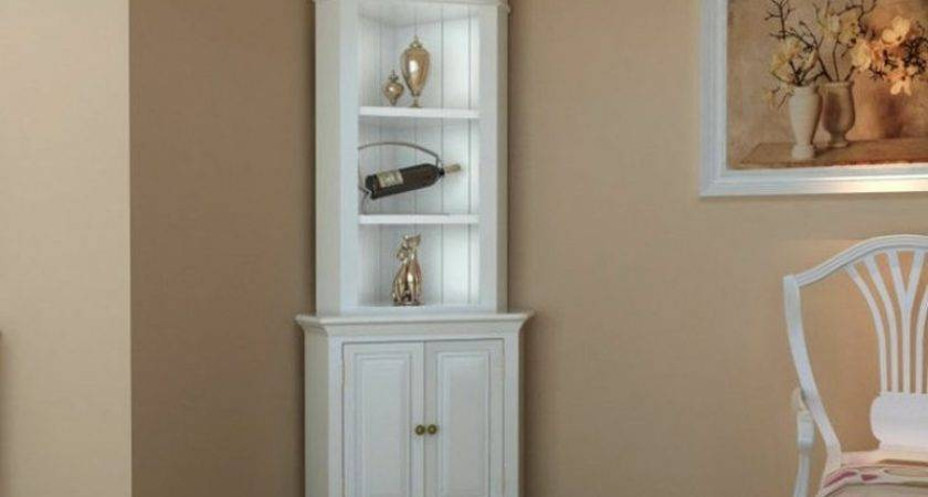 Corner Display Cabinet Wooden Shelf Shab Chic Unit White