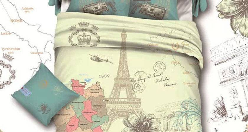 Cotton Fabric Bedroom Sets French Style Eiffel Tower Paris
