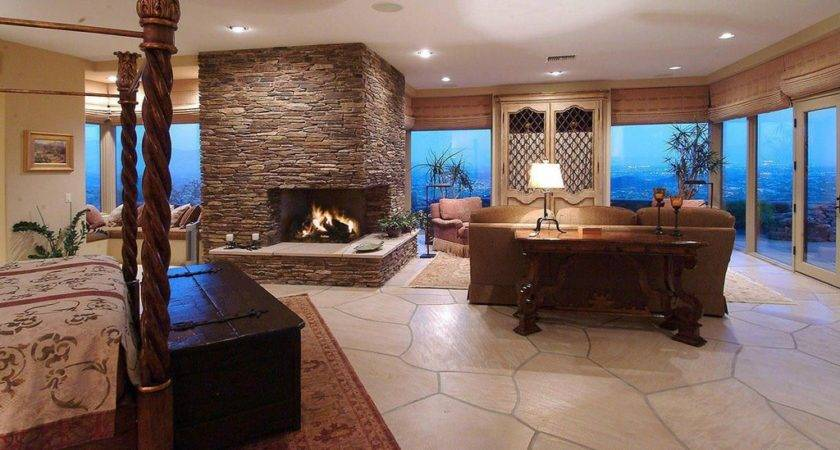 Country Master Bedroom Stone Fireplace Built