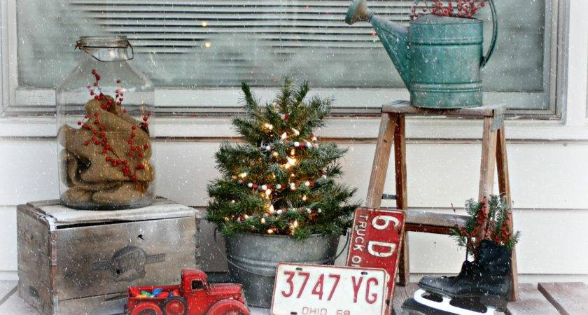 Cozy Old Farmhouse Junky Christmas Porch