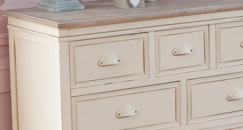 Cream Drawer Chest French Country Shabby Vintage Chic