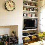 Cream Living Room Alcove Shelves