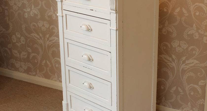 Cream Painted Drawer Tallboy Chest Shabby French Chic