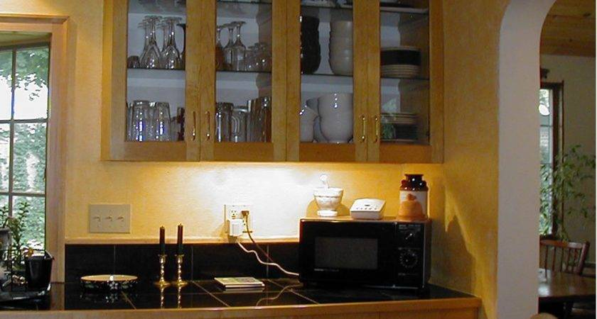 Curved Glass Kitchen Cabinet Shelves Aside Wall Mounted