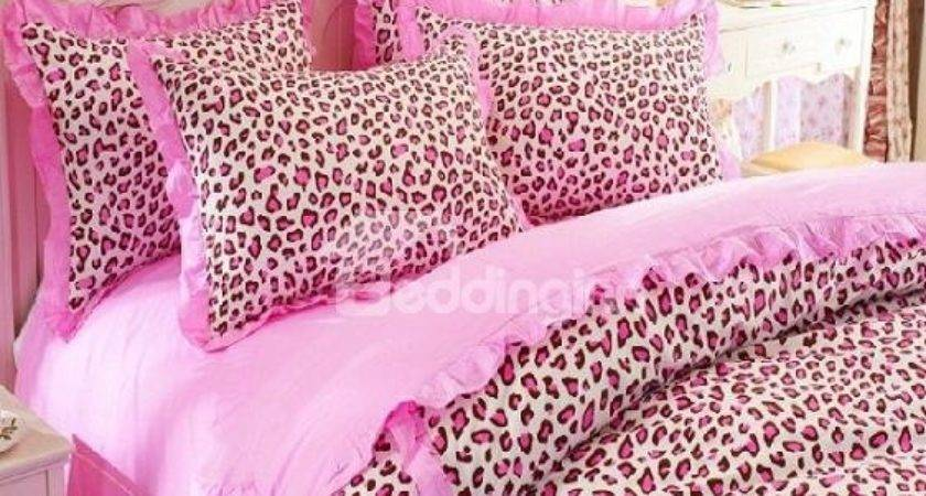Cute Pink Leopard Print Piece Bedding Sets Duvet Cover