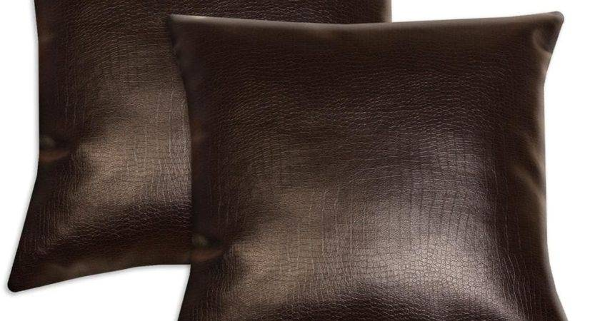 Dark Brown Faux Leather Accent Pillows Set