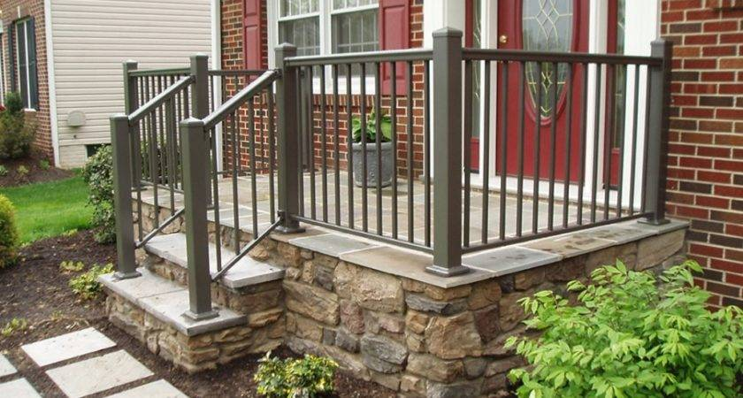 Dark Green Front Porch Railing Beautiful Red Brick