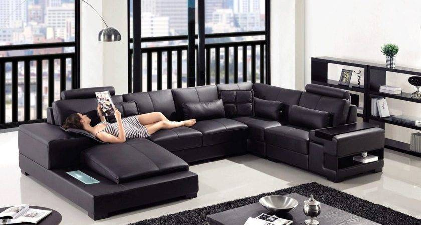 Decorate Living Room Black Leather Sectional
