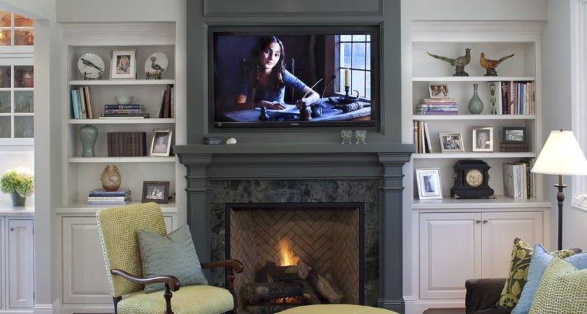 Decorating Ideas Bookcases Fireplace Room