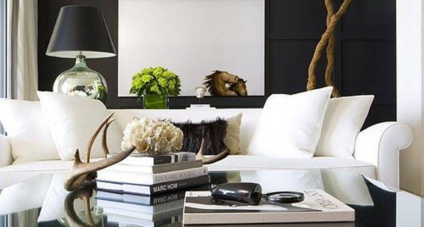 Decorative Antlers Contemporary Living Room