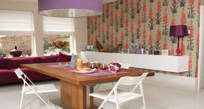Dining Room Wall Paper Feature Living