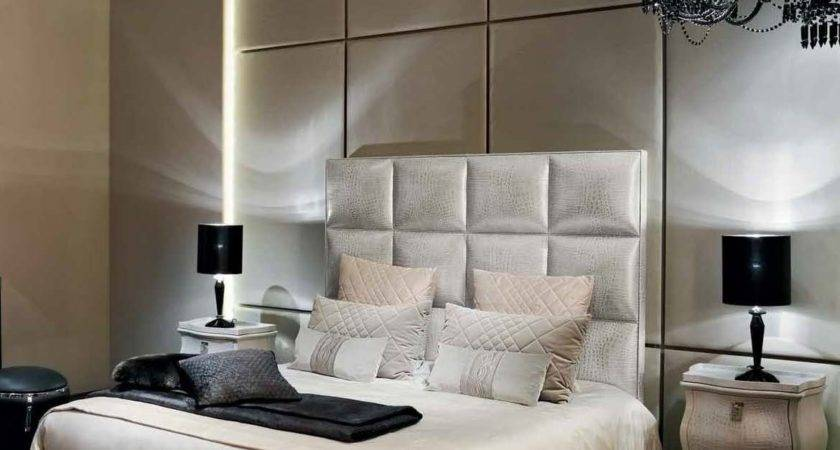 Double Bed Upholstered Headboard Diamante Leather