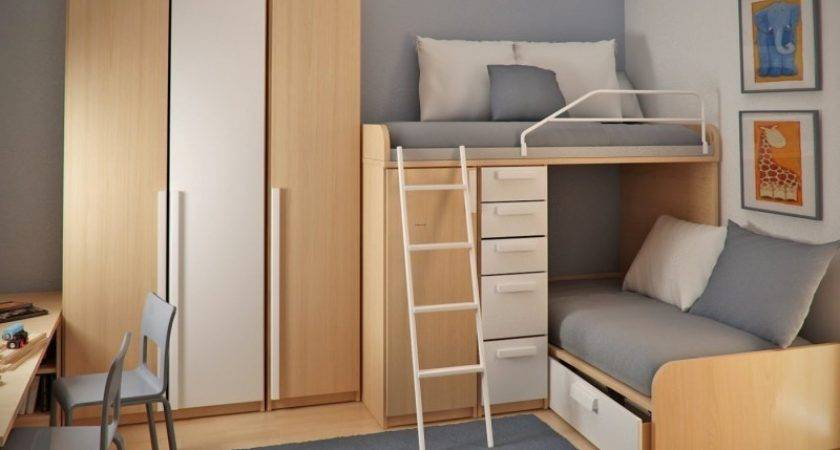Double Loft Beds Workspace Teen Small Bedroom